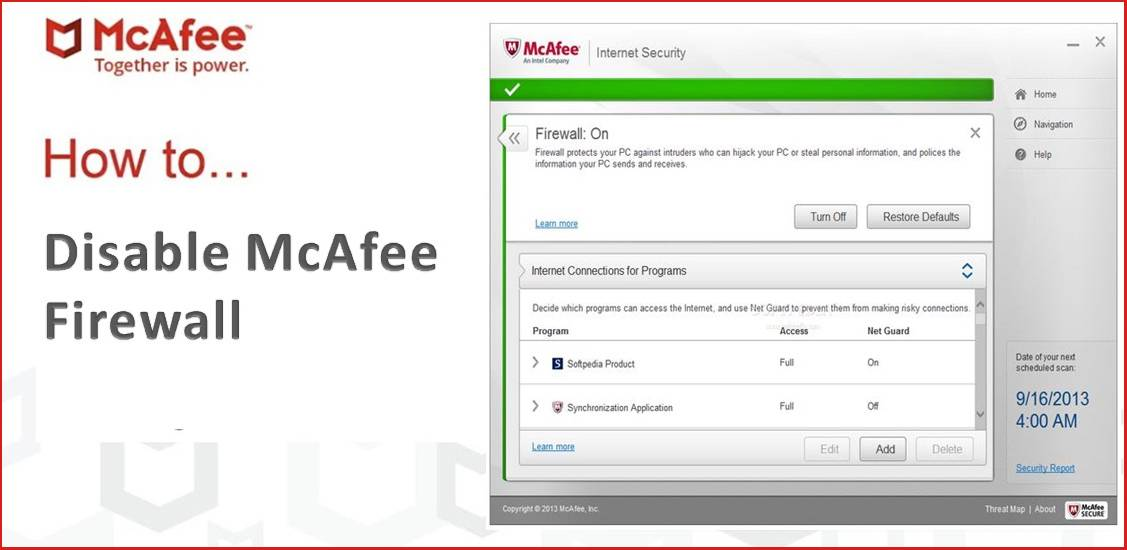 Enable and Disable McAfee Firewall on Windows 10